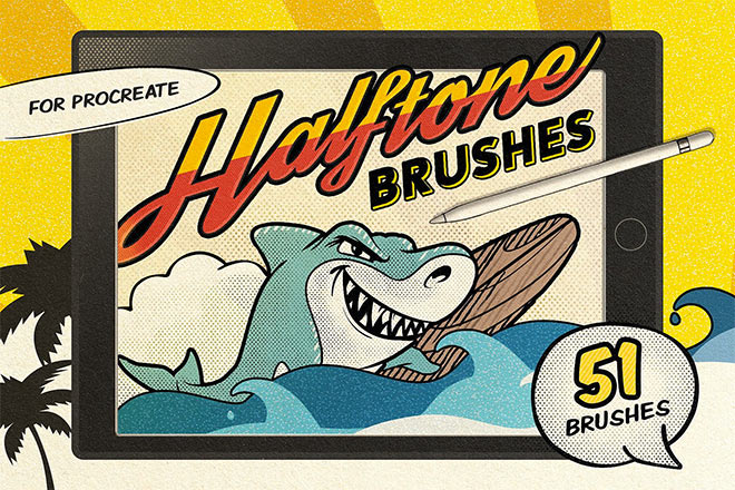 Vintage Comic Procreate Brushes by Pixel Buddha ($10)