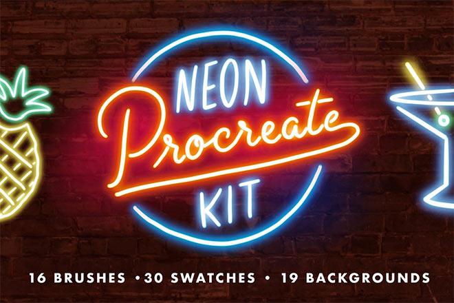 Neon Procreate Brush Kit by Mila Garret