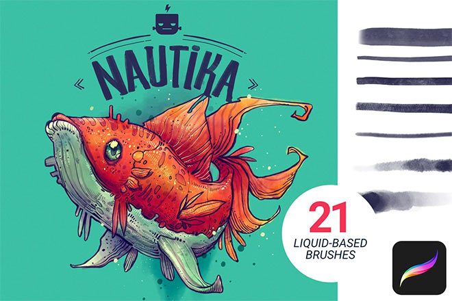 Nautika Brush Pack for Procreate by Frankentoon ($7)