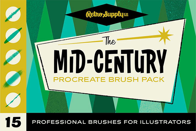 The Mid-Century Procreate Brush Pack by RetroSupply ($12)