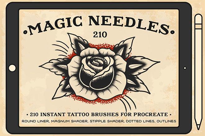 Magic Needles Procreate Brushes by Bad Taste ($18)