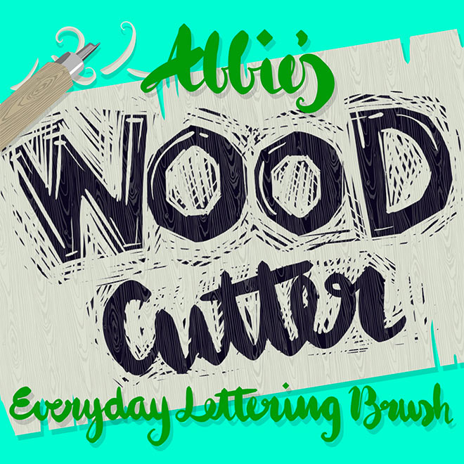 Wood Cutter Lettering Brush by Abbie Nurse (FREE)