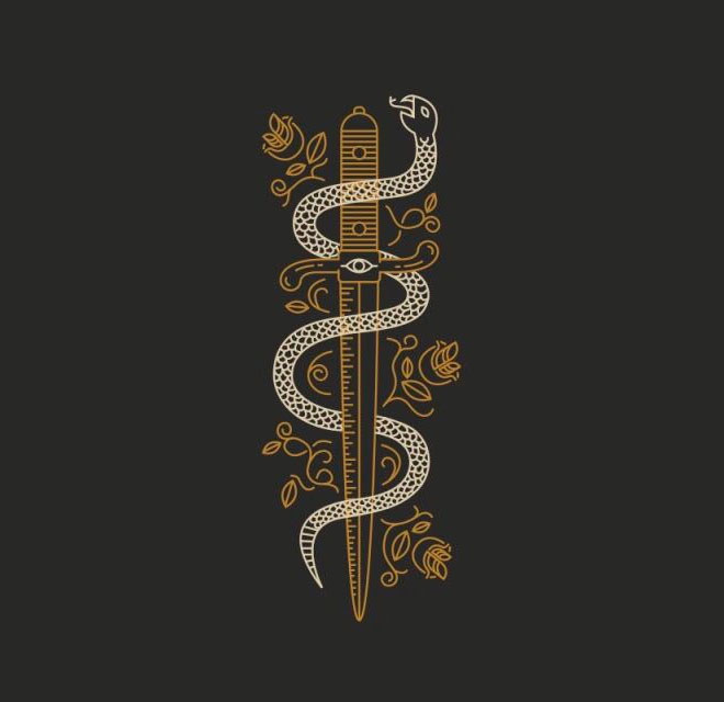 Snake Sword Tattoo Illustration