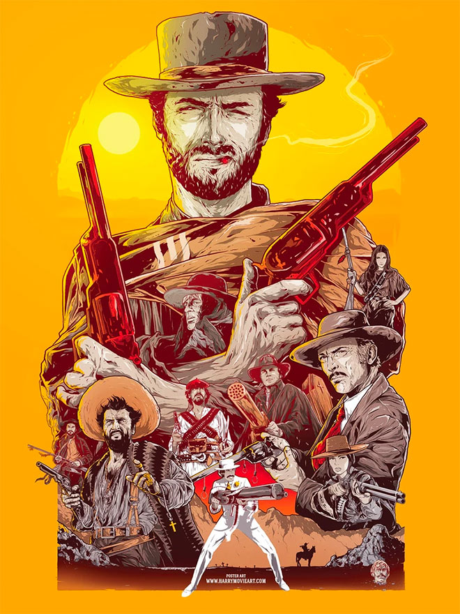 Spaghetti Western Theme Poster Art by Harry Movie Art
