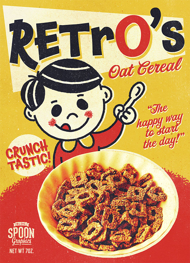 How to create a retro cereal box design with a mascot character