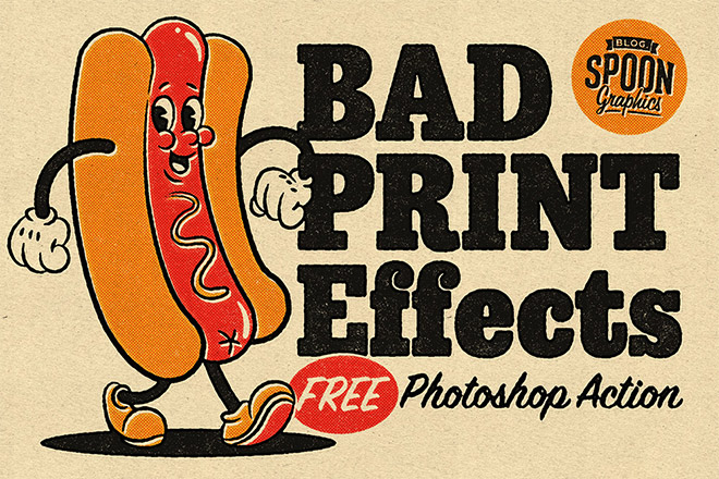 Download my FREE Photoshop promotion for bad printing effects