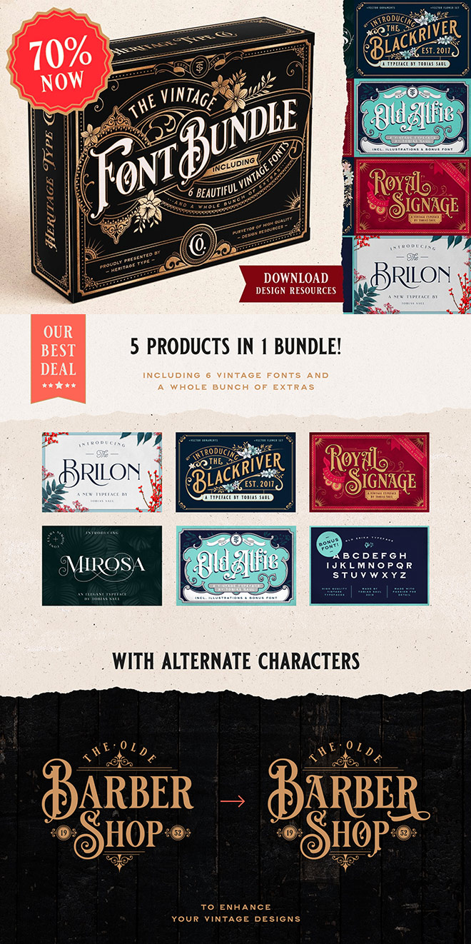 The Vintage Font Bundle