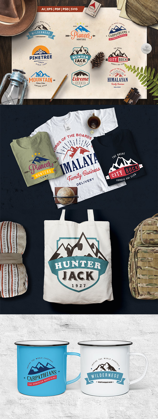 Mountain Vintage Logo Badges for Premium Members