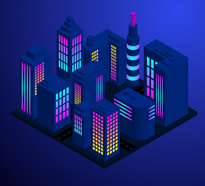 Isometric City Illustration in Adobe Illustrator