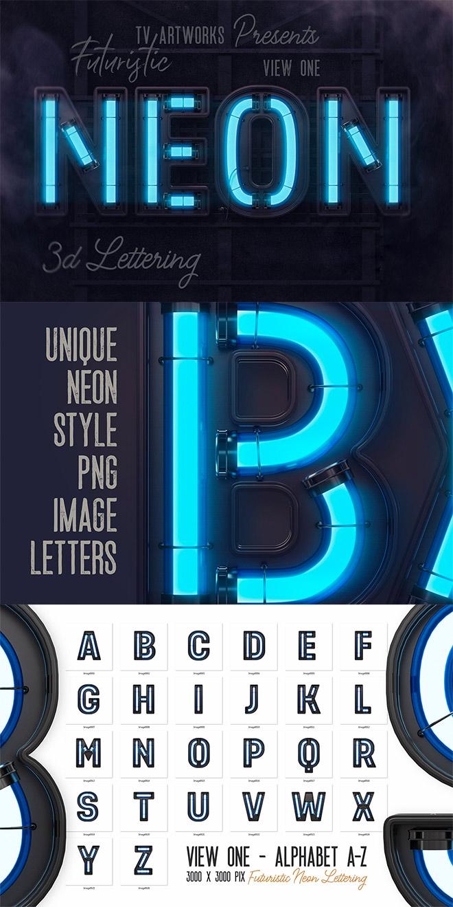 Futuristic Neon 3D Letters