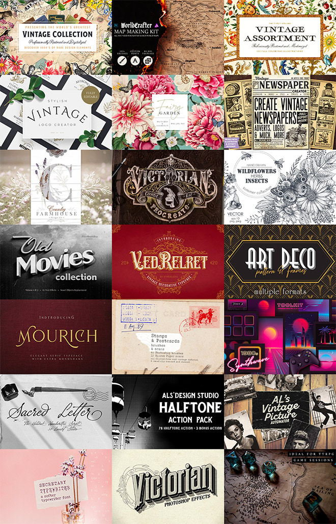 vintage bundle - $2296 Worth of Must-Have Tools for Creating Vintage Effects for $29
