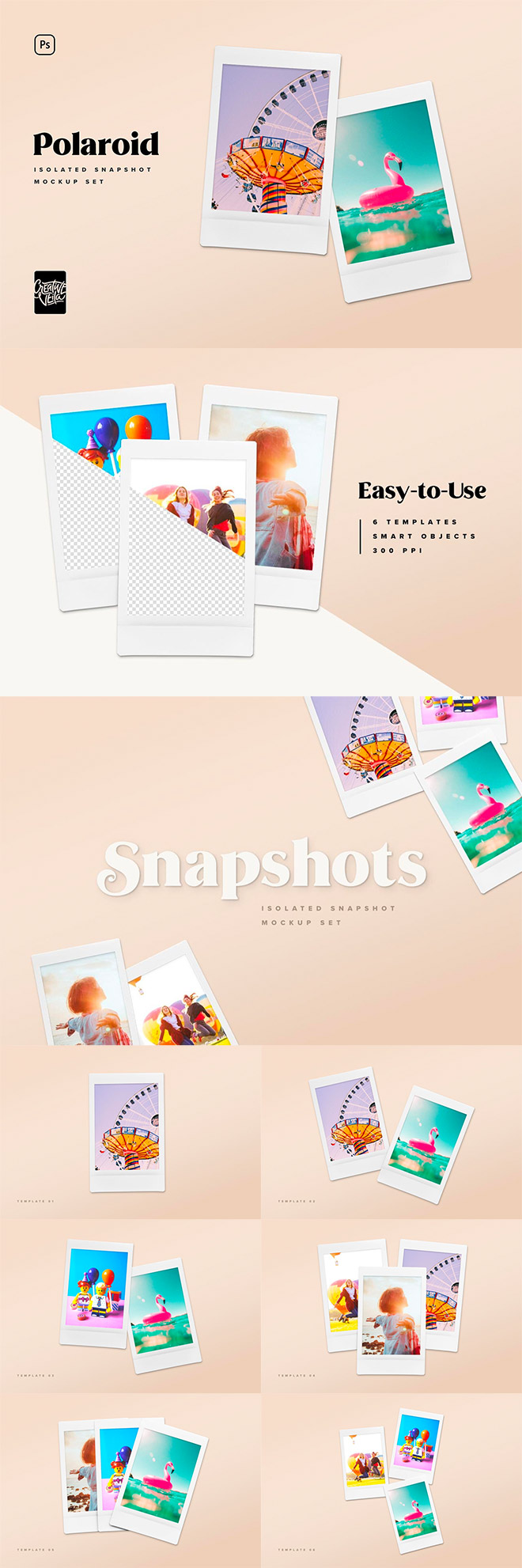 Polaroid Picture Mock-up Templates for Premium Members