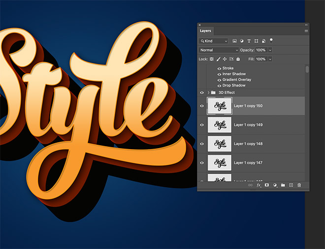 """17 - How to Create 3D Text Effects in Photoshop with the """"Transform Again"""" Technique"""