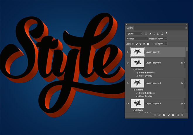 """9 - How to Create 3D Text Effects in Photoshop with the """"Transform Again"""" Technique"""