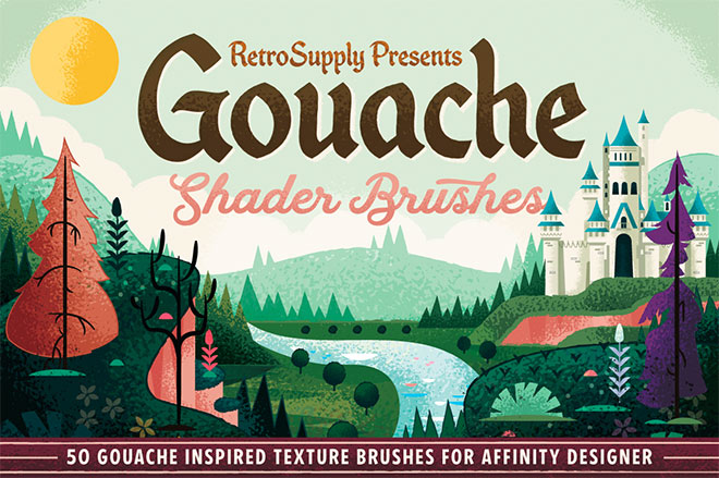 Gouache Shader Brushes for Affinity ($17)