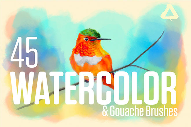 Watercolor & Gouache Brushes for Affinity Photo & Designer ($12)