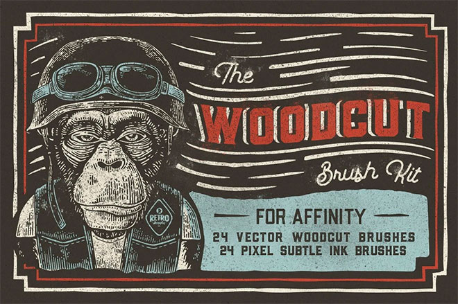 The Woodcut Brush Kit for Affinity ($19)