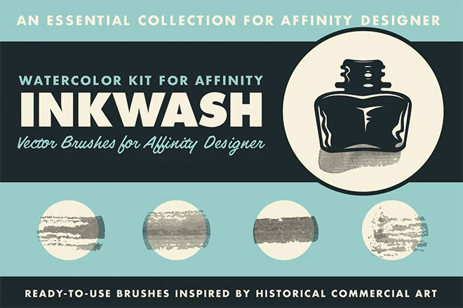Inkwash Ink & Water Brushes for Affinity Designer ($19)