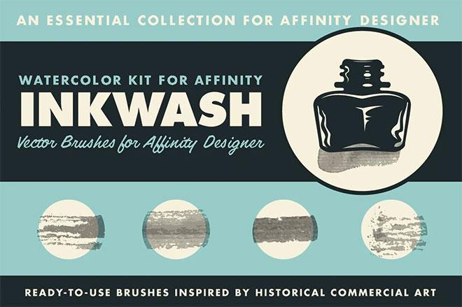Inkwash Ink & Water Brushes for Affinity Designer ($ 19)