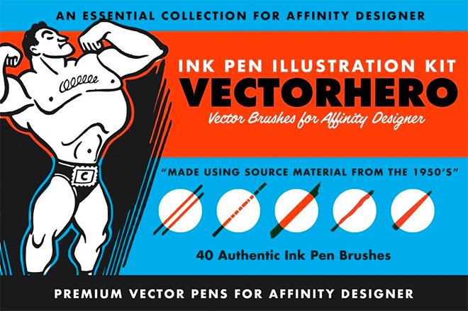 Vectorhero Ink Brush Pack for Affinity Designer ($ 19)