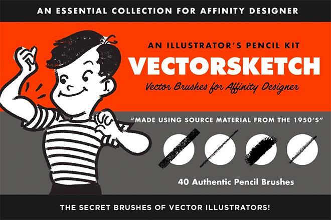 VectorSketch charcoal pencils for Affinity Designer ($ 19)