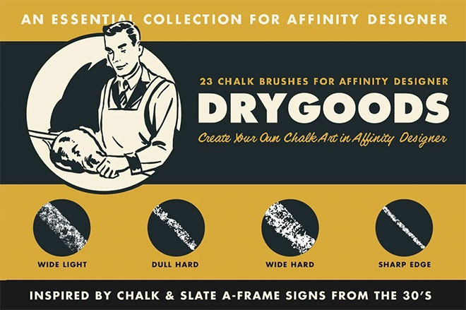 DryGoods Chalk Brushes for Affinity Designer ($19)
