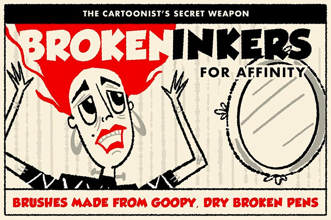 Broken Inkers Brush Set for Affinity ($12)