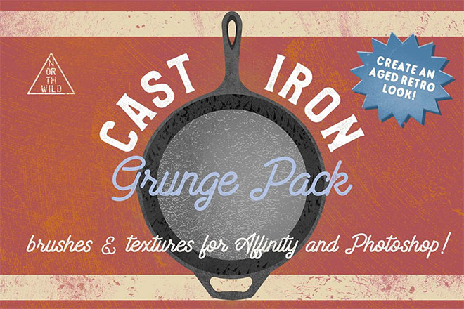 Cast Iron Grunge Brushes & Textures ($12)