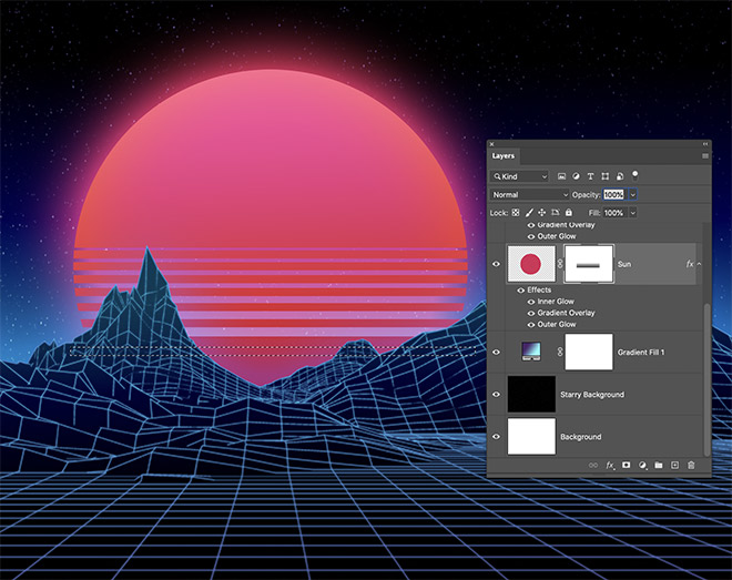 How to Easily Create Retro Landscapes with an 80s Aesthetic 13