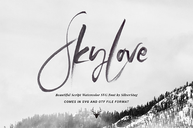 SkyLove SVG Hand Drawn Watercolor Script Font by SilverStag