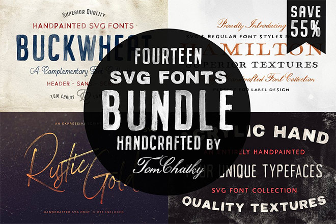 The Handcrafted SVG Font Bundle by Tom Chalky