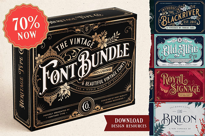 Vintage Font Bundle (and logo templates)