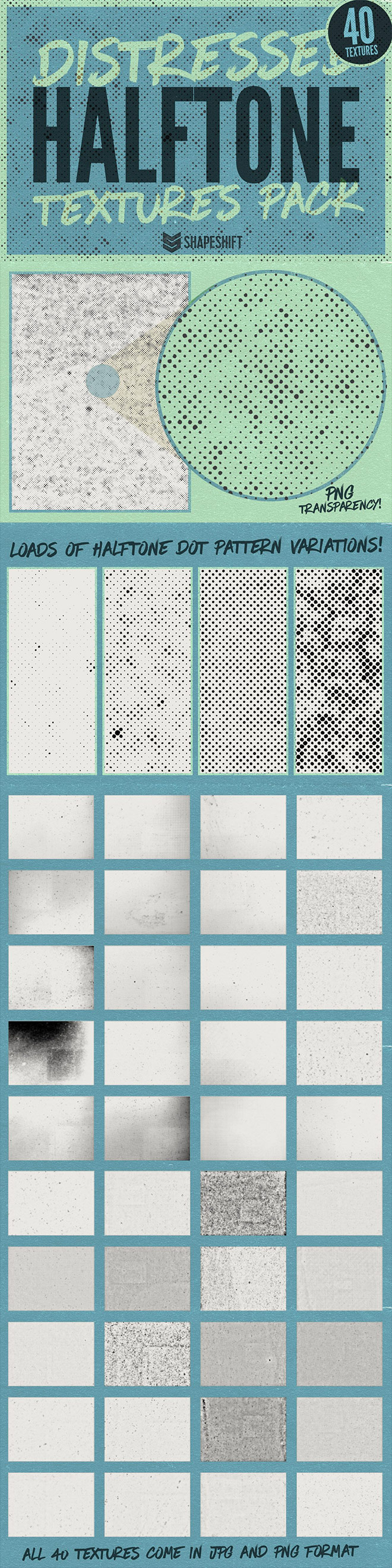 Distressed Halftone Textures Pack for Premium Members