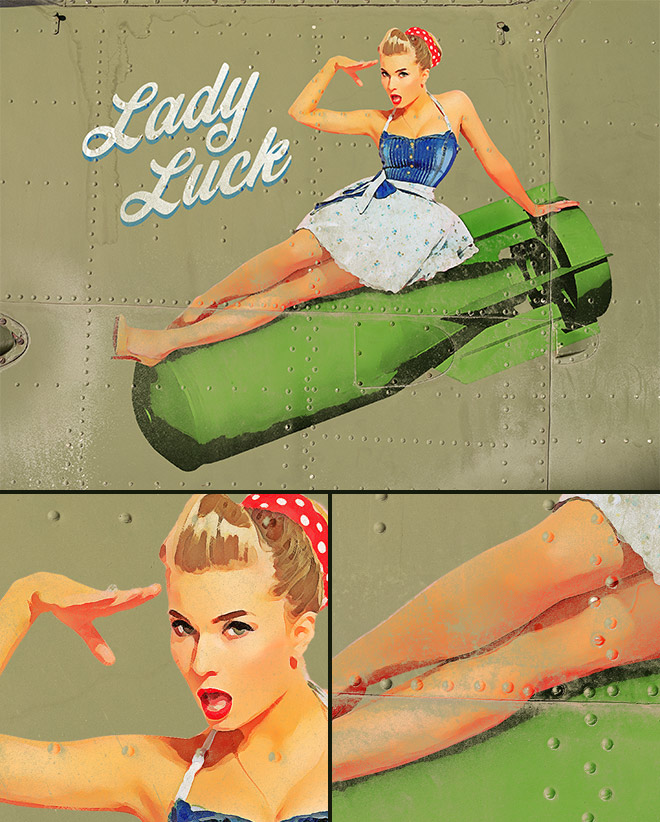 How to Create a Vintage Aircraft 'Nose Art' Pin-Up Effect in Photoshop