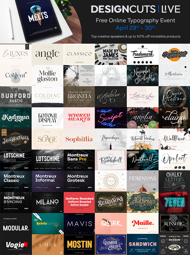Best Selling Fonts for Half-Price + FREE Typography Lessons with Top Creators