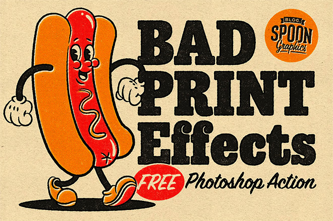 Download my FREE Bad Print Effects Photoshop Action