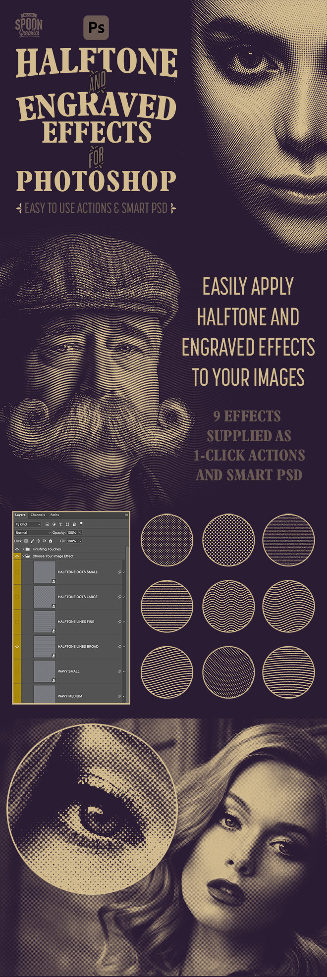 Photoshop Halftone & Engraved Effects for Adobe Photoshop
