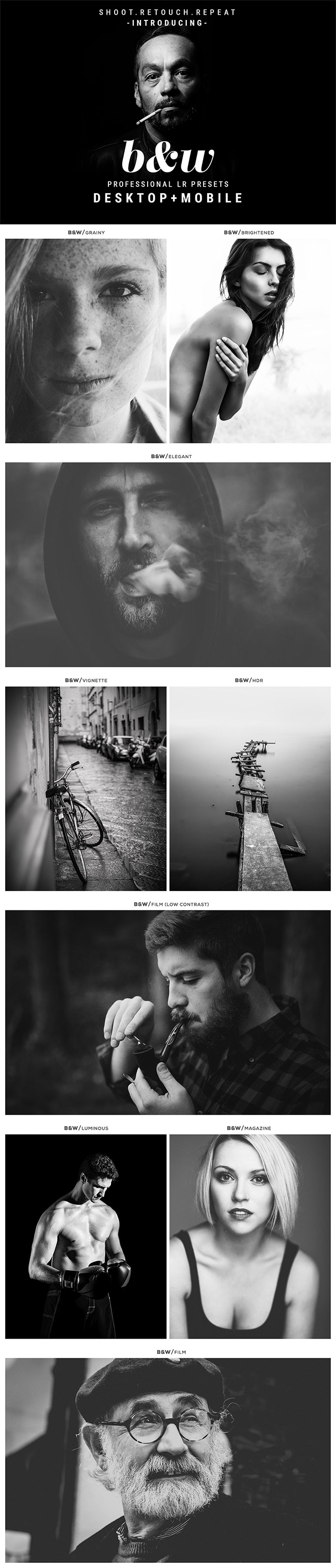 Black and White Lightroom Presets for Access All Areas Members