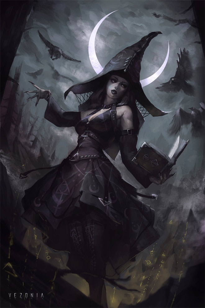 Witch Under Crescent Moon by Vezonia Lithium