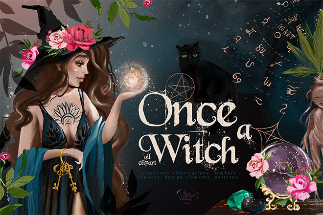 Once a Witch Oil Paint Clipart