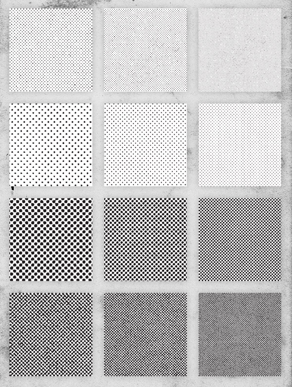 Halftone Repeating Pattern Swatches