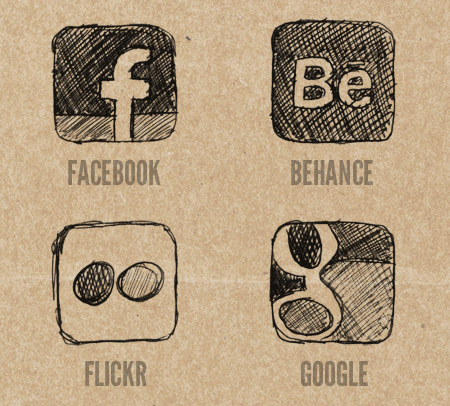 Facebook, Behance, Flickr and Google Icons