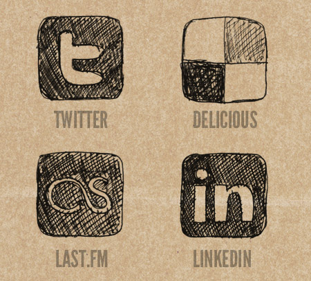 Twitter, Deliciou, LastFM and LinkedIn Icons