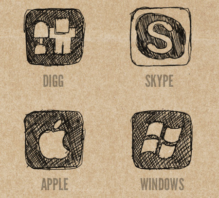 Digg, Skype, Apple and Windows Icons