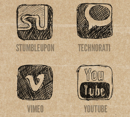 StumbleUpon, Technorati, Vimeo and YouTube Icons